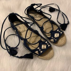 Soludos 7.5 espadrilles denim lace up sandals